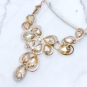 Champagne Rose Gold Crystal Statement Necklace